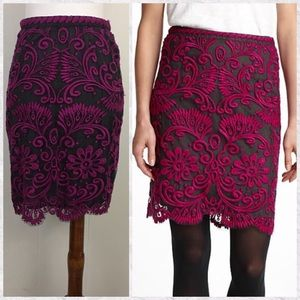 Anthro Joana Baraschi Orchid Lace Pencil Skirt